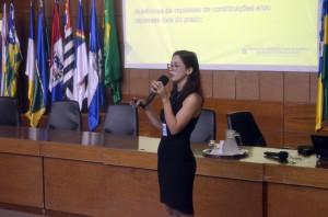A auditora Gislene Menezes abordou questões previdenciárias durante a atividade