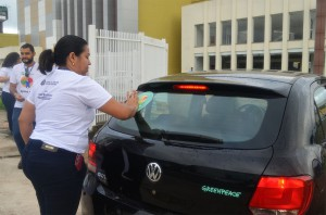 A campanha de divulgação foi desenvolvida no estacionamento do Teatro Estadual