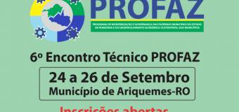Abertas no portal do TCE-RO inscrições para Encontro Técnico do Profaz em Ariquemes